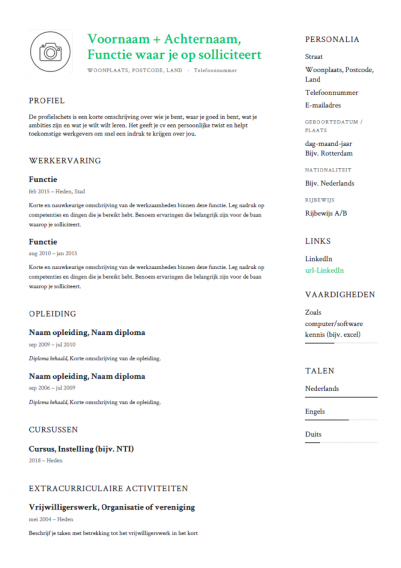 Modern Cv Template Gratis Voorbeeld Downloaden In Pdf